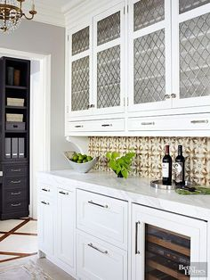 This galley-style butler's pantry offers plenty of serving space.