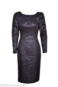 ALEXANDER-McQUEEN-2009-BLACK-ORIENTAL-EMBOSSED-DRESS-IT-42-UK-10-US-6-BN