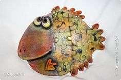 Картина панно рисунок Лепка совушки и рыбки  Тесто соленое фото 7