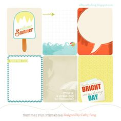 Free Summer Fun Journal Cards from Cathy Fong