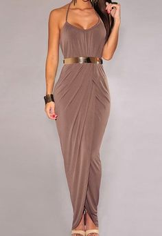 Stylish Women's Halter Side Slit Dress with Belt.