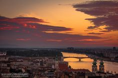 Sunrise lights by Mark Mervai on Budapest, Silhouette, Urban, Sunrise, Beautiful Places, Celestial, Lights, Pictures, Outdoor