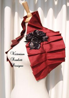 Victorian gothic double layered red silk couture shrug shoulder wrap
