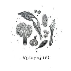 Vegetables! by Rebecca Green, illustration, pencil texture, food, drawing, monochrome, veg