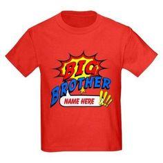 Cafepress Personalized Big Brother Superhero Kids Dark T-Shirt, Boy's, Size: Kids XSmall, Red