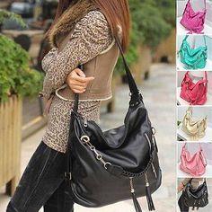 New Women Handbag Faux Leather Ladies Shoulder Tote Cross Body Bag Satchel Purse