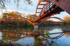 Midland Tridge, a three-way wooden footbridge spanning the confluence of the Chippewa and Tittabawassee Rivers near downtown Midland, Michigan.