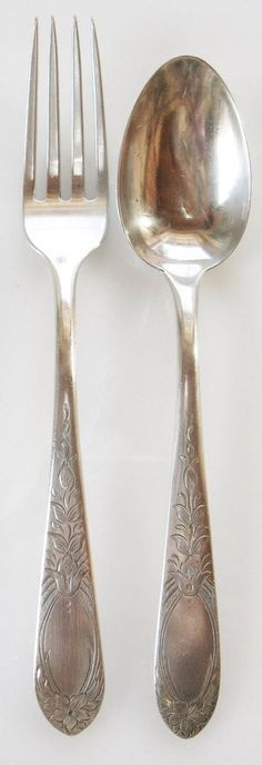 Antique VTG S KIRK SON Sterling Silver 925 Silverware Fork Spoon Engraved  #SKirkSon