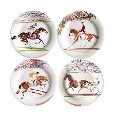 of 4 Cavaliers Canape Plates - White - Gien One Kings Lane, Small Plates, Decorative Plates, Horsemanship Patterns, Dessert Aux Fruits, Dessert Plates, Dinner Plates, Equestrian Decor, Baccarat Crystal