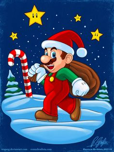 'Mario Xmas' Photographic Print by Remus Brailoiu Christmas Rock, Christmas Images, Christmas Themes, Xmas, Christmas Cartoon Characters, Christmas Cartoons, Santa Cartoon, Christmas Drawing, Christmas Paintings