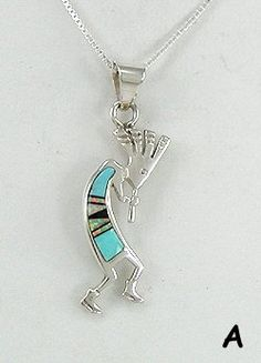 Native American Navajo Sterling Silver kokopelli turquoise inlay Pendant