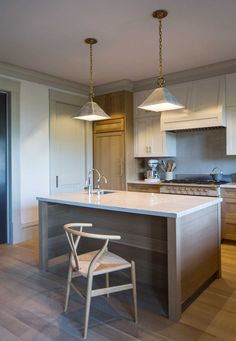 pale wood plank island, contemporary cabinets