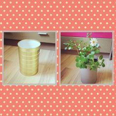 Une conserve devient pot de fleur, un petit coup de peinture et voilà le résultat #recyclage #conserve #diy #recycling