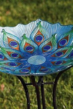 Peacock Glass Bird Bath Garden Lawn Yard Decor Bowl Outdoor Patio Unique Art | eBay