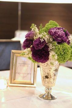 花どうらく/ウェディングブーケ/hanadouraku/http://www.hanadouraku.com/bouquet/wedding/大人wedding/アンティーク/ライラック/トルコキキョウ/センターピース/シルバー/フレーム