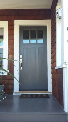 Curb Appeal: My Craftsman home gets a new front door painted in Dragons Breath by Benjamin Moore. In LOVE~Jessica