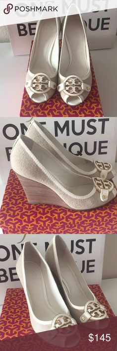 """Authentic Tory Burch Wedge Burlap Authentic Tory Burch Wedge Burlap Amanda high open toe in elegant natural bleach with white/gold hardware. Size 10 with 4"""" wedge heels! Used in excellent mint condition.  I have made the decision to donate 100% of all profits from my Poshmark Closet to charity . To all my buyers I'll send you updates who will benefit when you purchase my pre-loved item. Tory Burch Shoes Platforms"""