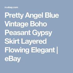 Pretty Angel Blue Vintage Boho Peasant Gypsy Skirt Layered Flowing Elegant   eBay