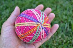 手マリボール。T E M A R I B A L L. > temari ball Japanese pink rainbow art yarn thread hand