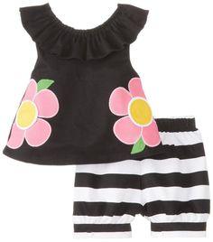 Mud Pie Baby-Girls Newborn Flower Short Set, Black/Pink/White, 6-9 Months