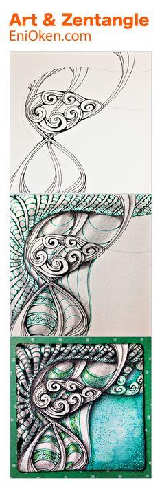 Learn how to create beautiful colorful Zentangle • enioken.com