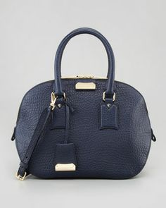 Medium Heritage Leather Satchel Bag, Navy by Burberry at Neiman Marcus.