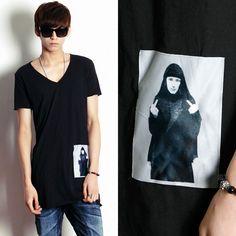 Remember Click Printed Pocket V Neck Tee BLACK GRAY WHITE ONE SIZE Korean Wear #RememberClick #BasicTee