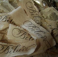 Tea-dyed hand stamped ribbon