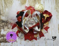 """When I grow up I'm going to be a Nurse like Mommy"""" hair bow Just Sayin' An Auction Style Event Opens 3/3/15 at 5 PM CST Closes at 3/5/15 at 9 PM CST Purchase Here: www.facebook.com/dollhousedesigngroup"""