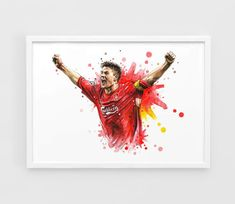 Steven Gerrard (Liverpool FC) - A3 Wall Art Print Poster of the Original Watercolor Painting Football Poster Soccer Poster by NazarArt