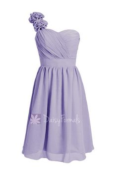 Classic Short One Shoulder Bridesmaid Dress Chiffon Cocktail Dress – DaisyFormals-Bridesmaid and Formal Dresses in 59+ Colors