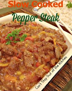Slow Cooked Pepper Steak - delicious #peppersteak made in the #crockpot. #glutenfree #beef #veggies #maindish via Can't Stay Out of the Kitchen