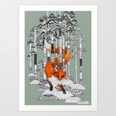 Fox Forest Art Print