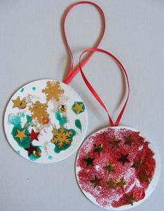 Christmas Bauble Decorations - markers/crayons, glue sticks, snowflakes/stars stickers and ribbon. Or, velcro dots to stick on felt tree.