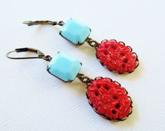 Handmade Earrings Vintage Red and Turquoise Blue by TheSilverDog
