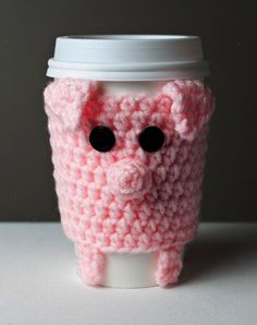 Crocheted Cuddly Pink Pig Coffee Cup Cozy. $15.00 via Etsy.