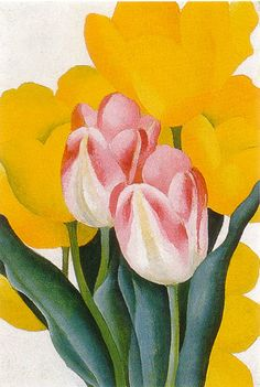Pink and Yellow Tulips, 1925 - Georgia O'Keefe Georgia O'keeffe, Art Floral, Georgia O Keeffe Paintings, Alfred Stieglitz, Yellow Tulips, Pink Yellow, Oil Painting Reproductions, Community Art, American Artists