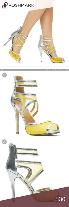 Yellow and Silver Mesh Stiletto Heels Sandals 9 New. Never worn. Comes with box. Downsizing. Shoe Dazzle Shoes Heels