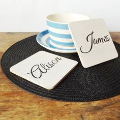 Trending: #handpainted white oak wood coasters - personalise with any texgreat for #housewarming or #wedding gifts! Available online at makememento.com - link in bio! _____________________