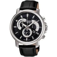 Casio Men's BEM506L-1AV Black Leather Quartz Watch with Black Dial