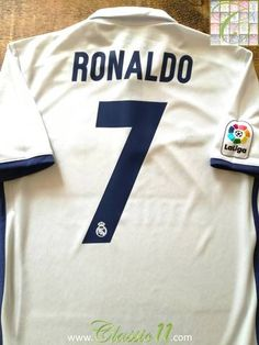Official Adidas Real Madrid home football shirt from the season. Complete with Ronaldo on the back of the shirt and La Liga patch on the sleeve. Football Memorabilia, Football Jerseys, Liga Soccer, Ronaldo Shirt, Cristiano 7, Uefa Super Cup, Classic Football Shirts, Club World Cup