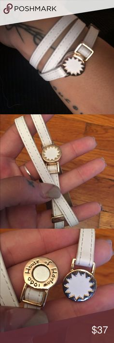 White leather house of Harlow wrap bracelet White leather with gold hardware this adorable house of Harlow wrap bracelet matches everything. Adjustable and magnetic it's made for every wrist. NWOT Never worn and in pristine condition House of Harlow 1960 Jewelry Bracelets