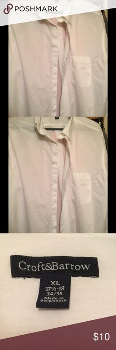 Craft & Barrow X L boys/men's white dress shirt Only worn a couple times there are no flaws or holes. Button up shirt button down collar size 17 1/2 inch neck sleeves are size 34/35inches. croft & barrow Shirts Casual Button Down Shirts