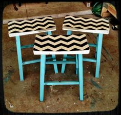 Chevron Stools Painting Furniture, Cool Furniture, Interior Ideas, Interior Inspiration, Chevron Patterns, Home Hacks, Classroom Decor, Teacher Resources, Home