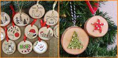 Χειροτέχνες εν δράσει...: ΙΔΕΕΣ - Χριστουγεννιάτικα στολίδια απο φέτες ξύλου...