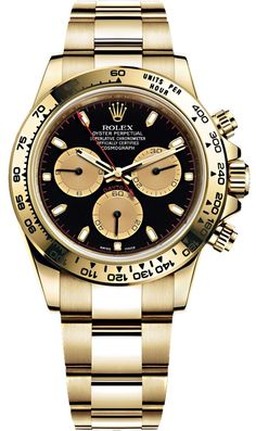 Rolex Oyster Perpetual Cosmograph Daytona Yellow Gold Black and Champagne Dial 40 mm Bracelet Watch Reference Oyster Perpetual Cosmograph Daytona, Rolex Cosmograph Daytona, Rolex Oyster Perpetual, Rolex Submariner, Fossil Watches For Men, Rolex Watches For Men, Luxury Watches For Men, Cool Watches, Men's Watches