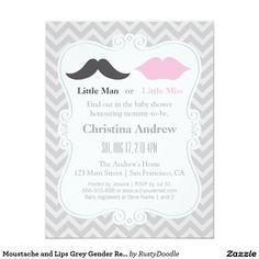 Shop Moustache and Lips Grey Gender Reveal Baby Shower Invitation created by RustyDoodle. Gender Reveal Party Invitations, Baby Gender Reveal Party, Gender Neutral Baby Shower, Baby Shower Invites For Girl, Baby Shower Cards, Baby Shower Invitations, Invitation Paper, Zazzle Invitations, Invitation Ideas