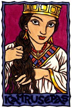 Kamrusepas is a healer Goddess of the Hittites. Kamrusepas is shown here combing out Her braid to prepare to work Her healing magic. Alternate names: Katahzippuri, Katahzipuri, Kamrushepash, Kammarushepash