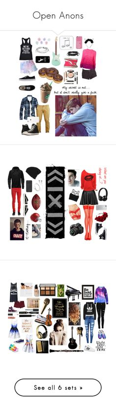 """""""Open Anons"""" by fallen-and-lost ❤ liked on Polyvore featuring Billabong, Spencer Vladimir, Crazy Dog, Vans, Converse, Monsoon, Happy Plugs, West Coast Jewelry and art"""