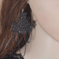 Find More Drop Earrings Information about Vintage Black Lace Drop Earring Gothic Alloy Tassel Jewelry Accessories Jewelry Earrings for Women,High Quality jewelry display black velvet,China jewelry making earring Suppliers, Cheap jewelry box earrings from imixlot on Aliexpress.com